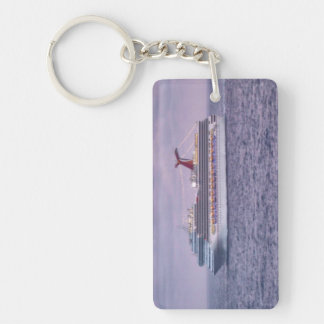 Ship in Purple Key Ring