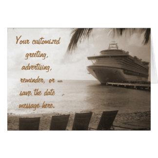 Ship in Sepia Custom Card