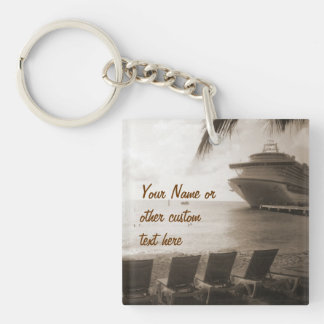 Ship in Sepia Custom Key Chain
