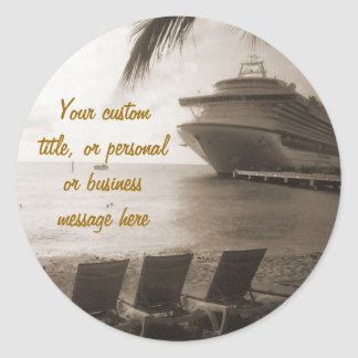 Ship in Sepia Custom Sticker