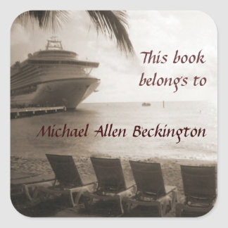 Ship in Sepia personalized bookplate Square Sticker