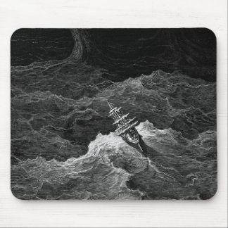 Ship in stormy sea mouse pad