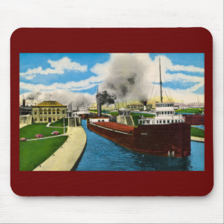 Ship in the Locks,  Sault Ste. Marie, Michigan Mouse Pad