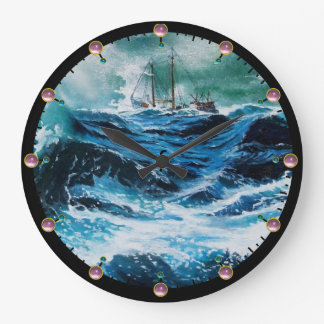 Ship In the Sea in Storm Large Clock