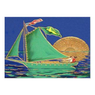 Ship Irish Flag American Flag Sun Boat 13 Cm X 18 Cm Invitation Card