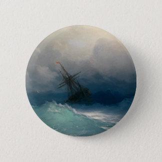 Ship on Stormy Seas, Ivan Aivazovsky 6 Cm Round Badge