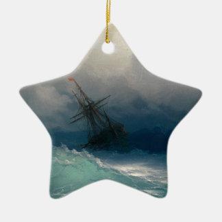 Ship on Stormy Seas, Ivan Aivazovsky Ceramic Ornament