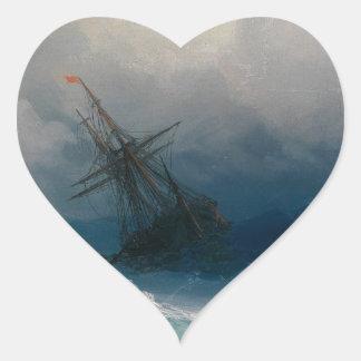 Ship on Stormy Seas, Ivan Aivazovsky - Heart Sticker