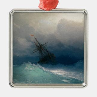 Ship on Stormy Seas, Ivan Aivazovsky Metal Ornament