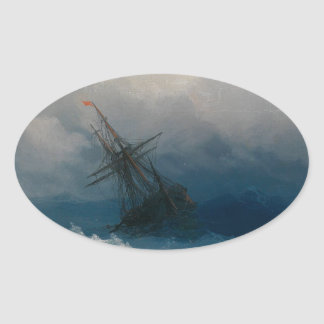 Ship on Stormy Seas, Ivan Aivazovsky - Oval Sticker