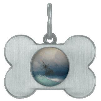 Ship on Stormy Seas, Ivan Aivazovsky - Pet ID Tag