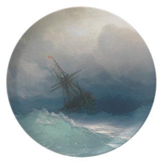 Ship on Stormy Seas, Ivan Aivazovsky Plate
