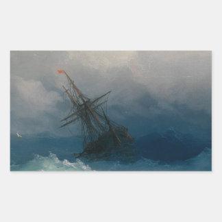 Ship on Stormy Seas, Ivan Aivazovsky Rectangular Sticker