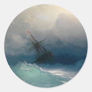 Ship on Stormy Seas, Ivan Aivazovsky Round Sticker