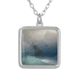 Ship on Stormy Seas, Ivan Aivazovsky - Silver Plated Necklace