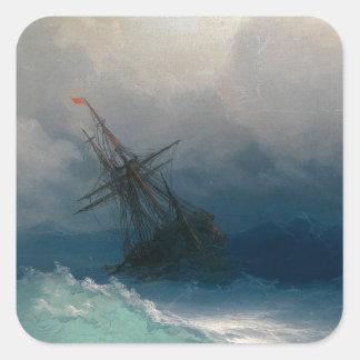 Ship on Stormy Seas, Ivan Aivazovsky - Square Sticker