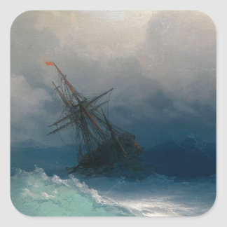 Ship on Stormy Seas, Ivan Aivazovsky Square Sticker