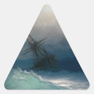 Ship on Stormy Seas, Ivan Aivazovsky Triangle Sticker