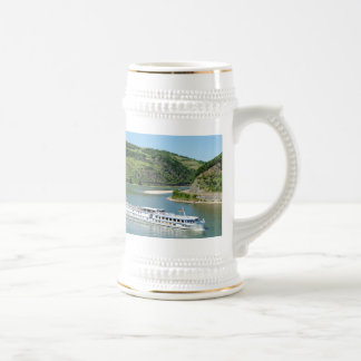 Ship on the Rhine with Oberwesel Beer Stein