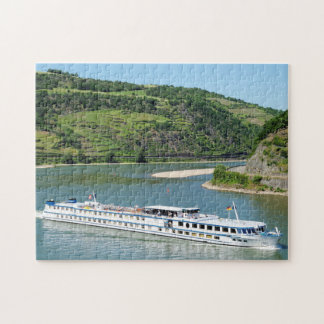 Ship on the Rhine with Oberwesel Jigsaw Puzzle