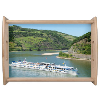 Ship on the Rhine with Oberwesel Serving Tray