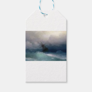 Ship On The Stormy Sea Painting Gift Tags