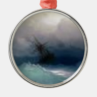 Ship On The Stormy Sea Painting Metal Ornament