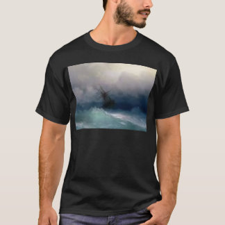 Ship On The Stormy Sea Painting T-Shirt