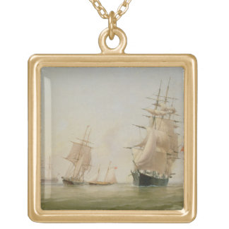 Ship Painting (oil on canvas) Square Pendant Necklace