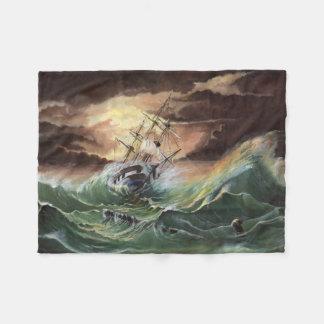 Ship Painting Small Fleece Blanket