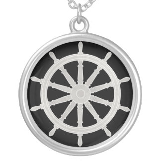 Ship's Helm Silver Plated Necklace
