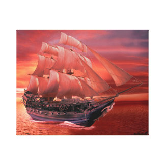 SHIP SAILS AT SUNSET CANVAS PRINT