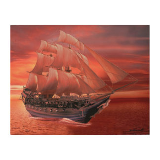 SHIP SAILS AT SUNSET WOOD PRINT