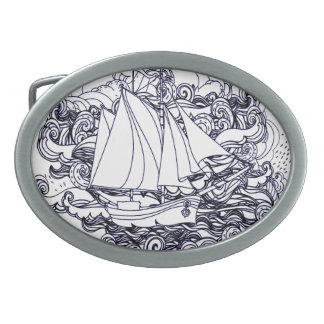 Ship Stuck in the Storm Oval Belt Buckles