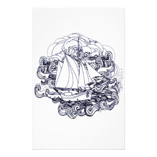 Ship Stuck in the Storm Stationery