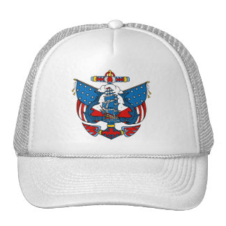 Ship Tattoo in Red and Blue Baseball Cap