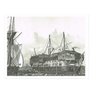 Ship used as prison hulk 1800s postcard