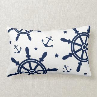 Ship Wheel, Anchor, Blue and White, Nautical Lumbar Cushion