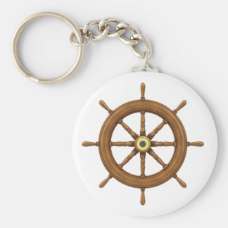 ship wheel inspired design basic round button key ring