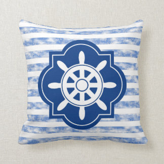 Ship Wheel Silhouette With Nautical Blue Stripes Throw Pillow