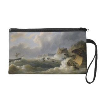 Shipping off a Coastline in a Rough Sea (oil on ca Wristlet
