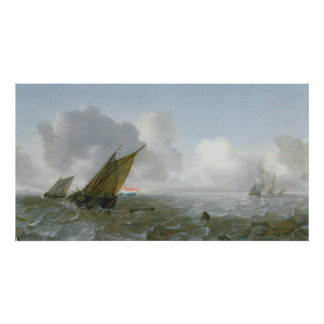 Shipping Offshore in a breeze, 17th century Poster