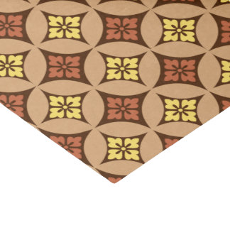 Shippo with Flower Motif, Brown and Golden Yellow Tissue Paper