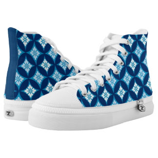 Shippo with Flower Motif, Indigo Blue and White High Tops
