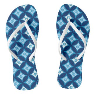 Shippo with Flower Motif, Indigo Blue and White Thongs