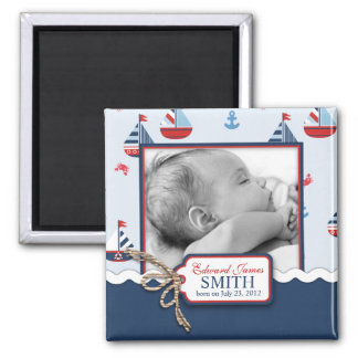 Ships Ahoy! Announcement Square Magnet