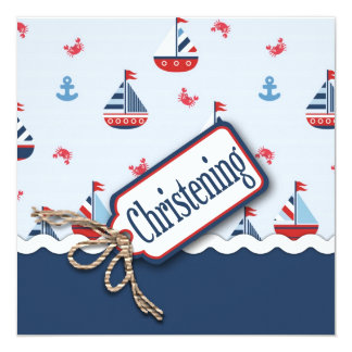 Ships Ahoy! Baptism Square 2 5.25x5.25 Square Paper Invitation Card