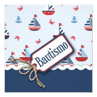 Ships Ahoy! Baptism Square C_Spanish 13 Cm X 13 Cm Square Invitation Card