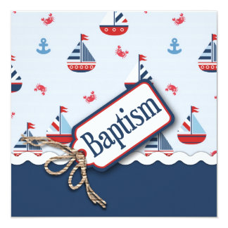 Ships Ahoy! Baptism Square_Zip Code2 5.25x5.25 Square Paper Invitation Card