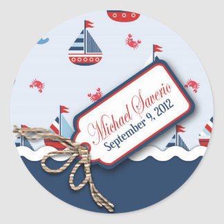 Ships Ahoy! Baptism Sticker_Michael Saverio 2 Classic Round Sticker